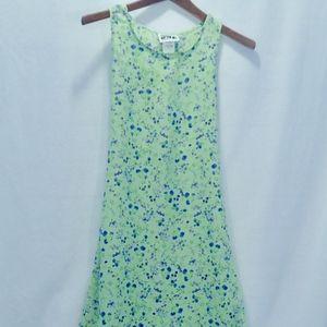 Midi Dress Sz 14 Midi Green w/ Lavender No Wrinkle